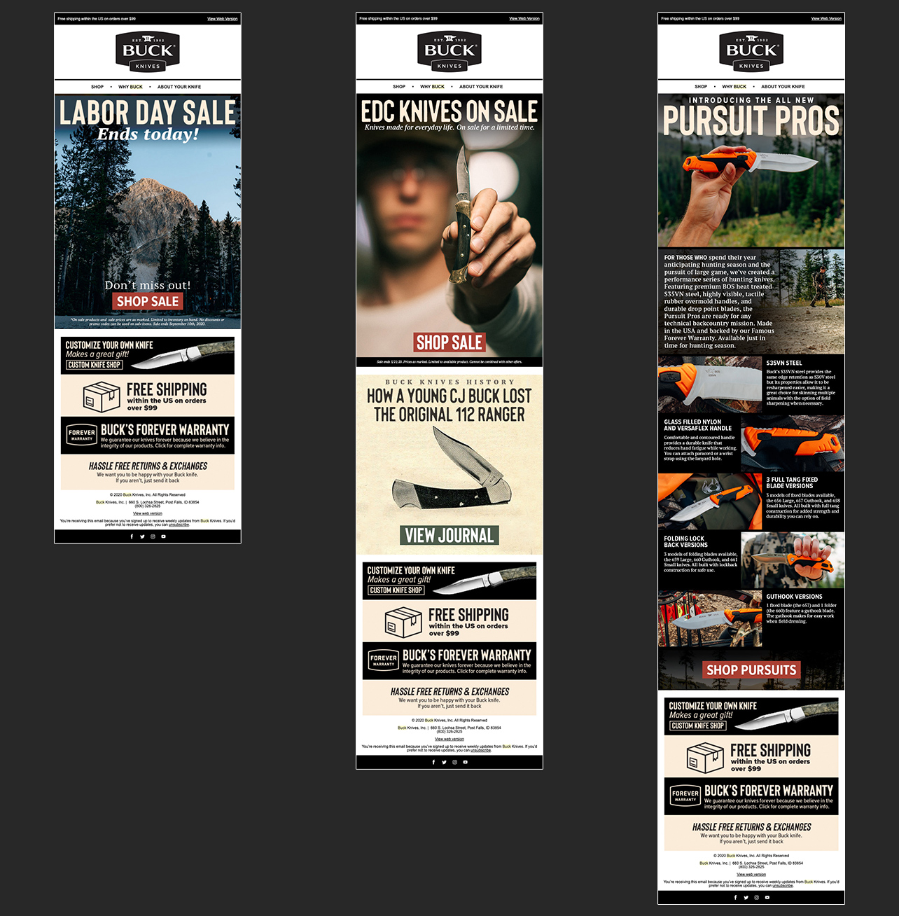 Examples of email marketing design by Justin Baar