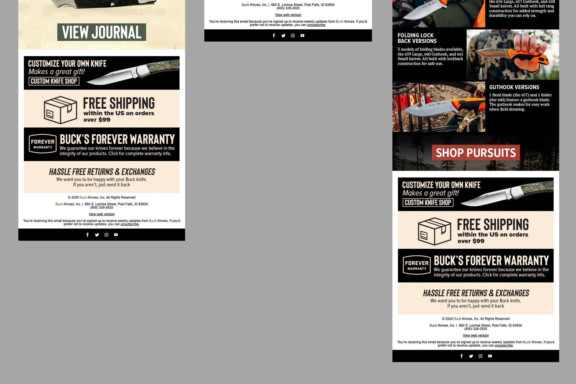 Examples of email design by graphic designer Justin Baar
